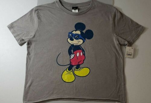 Disney Gray Mickey Mouse Wearing Sunglasses DIstressed Short Sleeve Crop Top