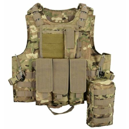 img-MTP Molle Tactical Vest Multicam Plate carrier Chest webbing Pouch Airsoft Wire