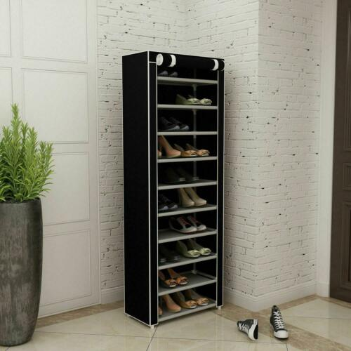 Portable Durable 10 Tier 9 Shelf Shoe Rack Storage Organizer Cabinet w/ Cover