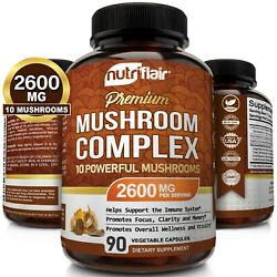 Kyпить Mushroom Complex Supplement, 90 Capsules - 10 Mushrooms Lions Mane, Reishi Pills на еВаy.соm