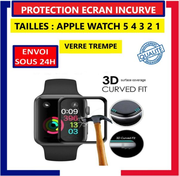 Vitre Verre Trempé Film Protection écran Glass 3D Courbé Apple Watch 5 4 3 2 1