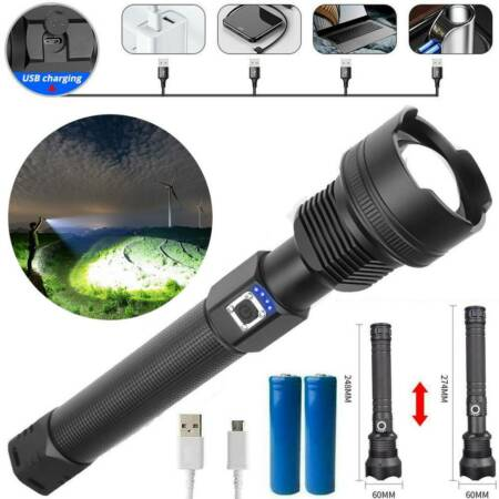 img-200000LM XHP70 Waterproof Flashlight LED Torch Flashlight Lamp Rechargeable