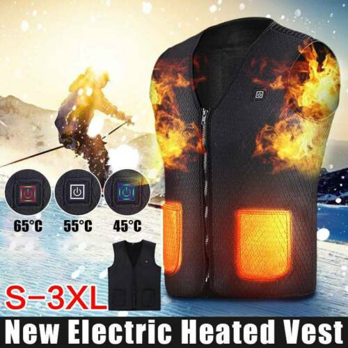 USB Thermal Electric Vest Heated Cloth Jacket Warm Heated Pad Winter Body Warmer