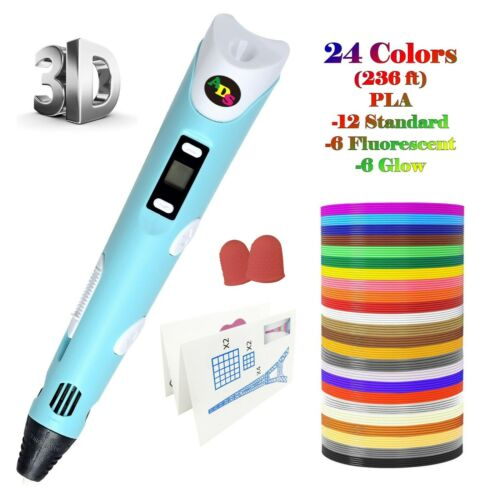 US Fast Ship -3D Printing Pen LowTemperature with LED + 24Color 236 FtFilament