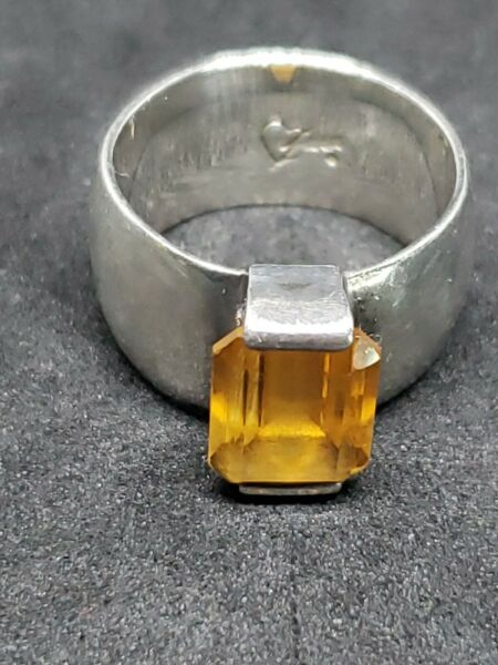 Signed SASA Sterling Silver Solitaire Citrine Ring 4R