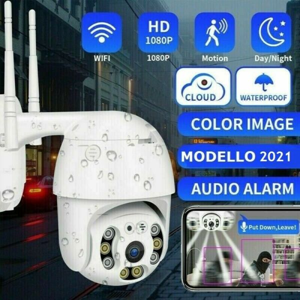 TELECAMERA ESTERNA FULL HD 1080P 2020 WIRELESS IP PTZ PER VIDEOSORVEGLIANZA WIFI
