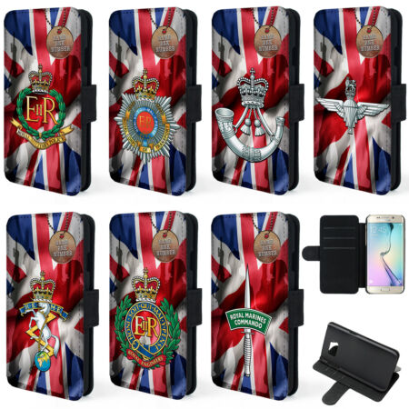 img-Personalised Military Samsung Phone Case S9 Plus Flip Cover Veteran Cap Badge MU