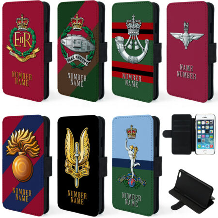 img-Personalised Military iPhone Case X XR XS Flip Phone Cover Veteran Cap Badge TR