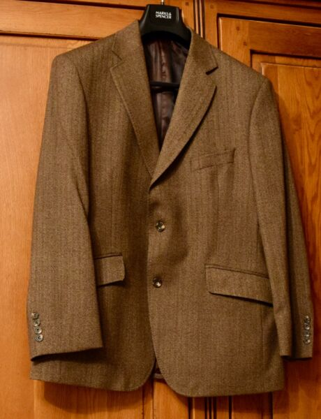 Marks and Spencer Tailoring Brown Pin Striped Wool Blazer 42