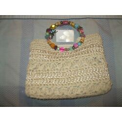 Capelli Staworld Beaded Handle Satchel - Natural Color - New with Tag