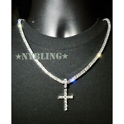 Kyпить 14k Gold Silver IP Tennis Chain Cross Pendant Choker Lab Diamond ICED Necklace на еВаy.соm