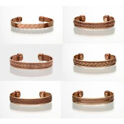 2 Pack Copper Magnetic Bracelet Arthritis Pain Therapy Energy Cuff Bangle