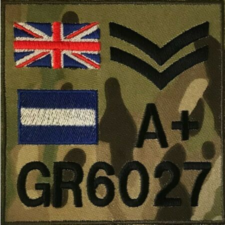 img-Personalised MTP Zap Number Rank Regiment Blood Group Badge, Military, Army TRF