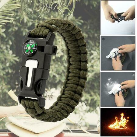 img-Paracord Survival Bracelet Compass Fire Starter Scraper Whistle Gear Kit