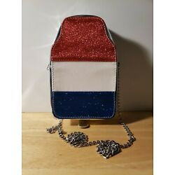 Capelli New York Cross Body Red White and Blue Glitter with Chrome Purse NWOT