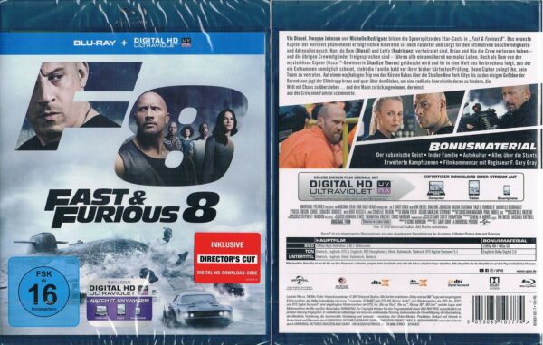 Lüneburg,DeutschlandFAST & FURIOUS 8 --- The Fast and the Furious 8 --- Blu-ray ---  & OVP ---