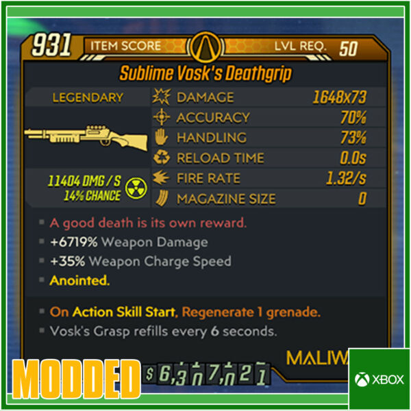 Royaume-UniBorderlands 3 [XBOX ONE] Modded Sublime Vosk's  73 Shot Anointed God