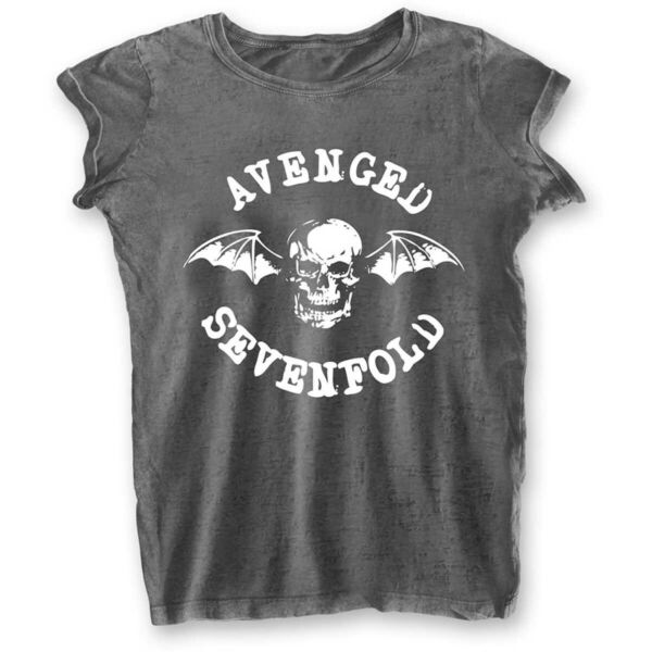 Royaume-UniLadies Avenged Sevenfold A7X Deathbat Burnout  T-Shirt Damen