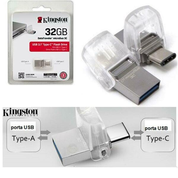 PENDRIVE 32GB DATATRAVELER MICRODUO USB 3.0  3.1 DTDUO3C/32GB DOPPIA INTERFACCIA