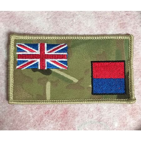 img-Artillery MTP Union Jack Zap Blood Group Badge RA Army Military Patch Hook Loop