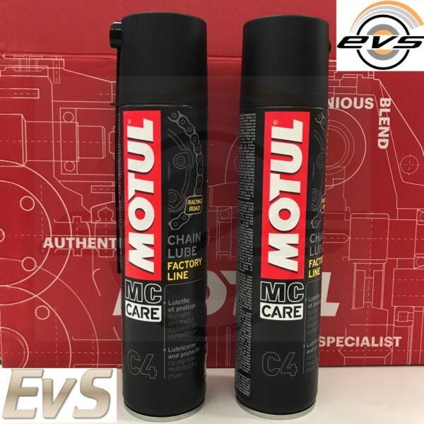 2 x 400ml Grasso Catena Spray per Moto Strada MOTUL C4 FACTORY LINE Road Racing