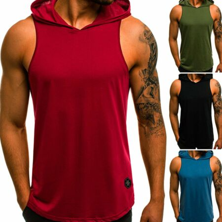img-Men's Gym Vest Sleeveless Pullover Hoody Hooded Tank Tops Muscle Clothes T-Shirt