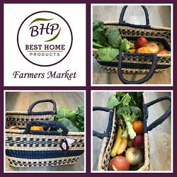 Woven Seagrass Basket Set with Handles Storage Bags Rectangle Picnic Multi Color