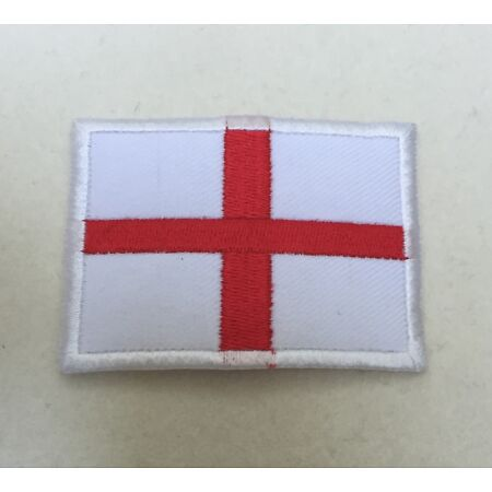 img-England St Georges Flag Badge, White & Red Cross Patch, Sticky Back Option