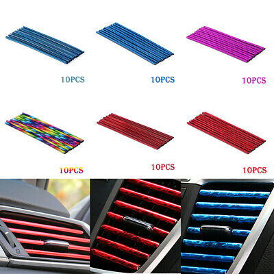 10× Auto Car Colorful Air Conditioner Air Outlet Decoration Strip Accessories