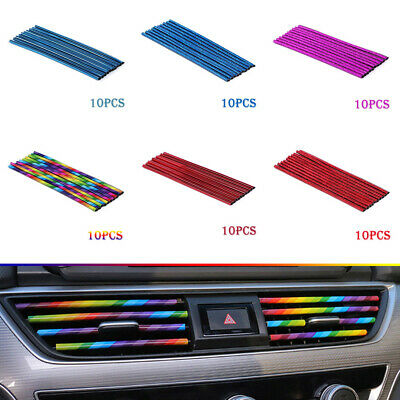 10 Pcs Colorful Car Auto Accessories Air Conditioner Air Outlet Decoration Strip