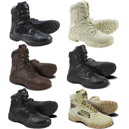 img-ARMY TACTICAL PRO BOOTS SIDE ZIP MENS UK 5-12 BLACK LEATHER 1/2 LEATHER FOOTWEAR
