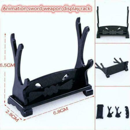 img-Sword Dagger Cane Table Top Stand Double Display Stand Wood Rack A9O0 Q4B5 Z7V7
