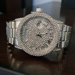 Men's Calendar Hip Hop Watch Iced Big Round Micro Pave Flooded Out Silver Tone