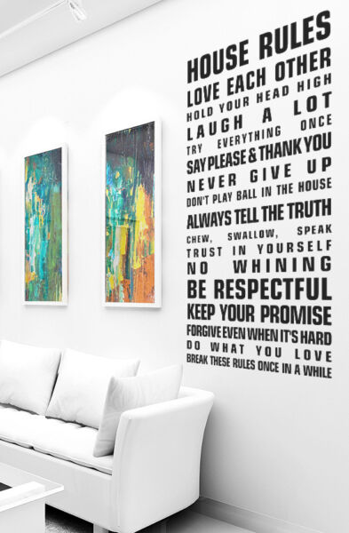 Royaume-UniVinyle Art Mural s Grand House Rules Citation Famille Amour Chambre