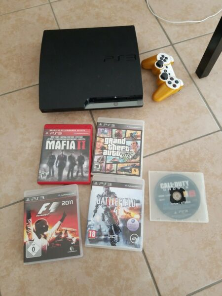 PlayStation 3 Ps3 Slim Console Usata 160GB + 5 GIOCHI