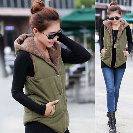 img-Ladies Winter Vest Sleeveless Hooded Quilted Gilet Body Warmer Button Waistcoat