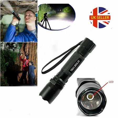 img-Police 150LM LED Super Bright Zoom Flashlight Powerful Camping Lamp Torch UK