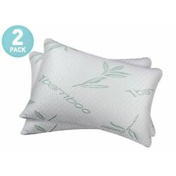 Kyпить (2 PACK) Bamboo Shredded Memory Foam Bed Pillows Hypoallergenic Cover Queen Size на еВаy.соm