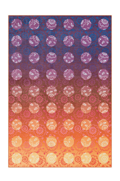 AllemagneTapis Dégradé de Couleur  Fioritures Points Orange Mauve Rouge 120x170cm