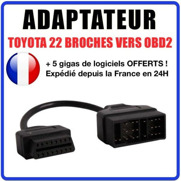 France diagnostic CABLE OBD2 22 broches VERS 16 pins - Compatible TOYOTA