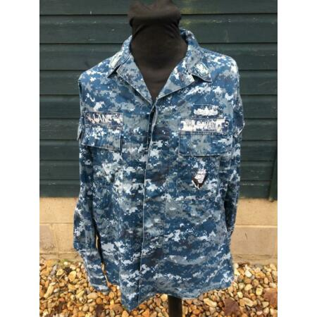 img-Genuine Issue US Navy Blue Digital Camouflage Naval Working Uniform NWU Shirt