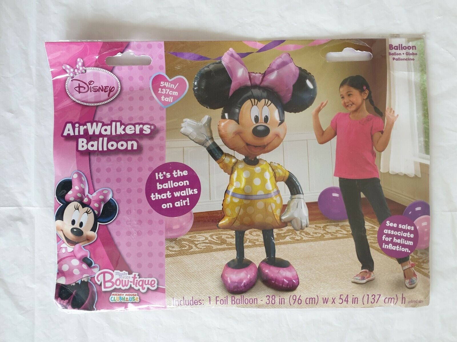"""Disney Mickey Mouse Clubhouse Minnie Mouse 54/"""" 137cm Airwalker Foil Balloon"""