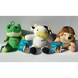 Aspen Pet Terry Toy BOODA Squeaking Dog Toys (Set Of 3) Frog, Cow, Hedgehog