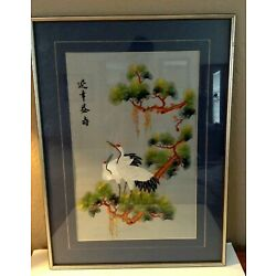 Kyпить Vintage Japanese Silk Embroidered Art Wall Hanging~Picture~Asian Oriental CRANES на еВаy.соm