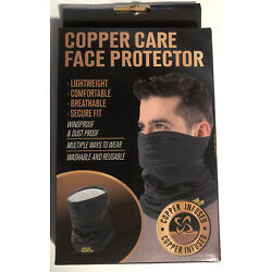 Copper Care Infused Face Protector & Neck Guard Mask Lightweight Washable Black