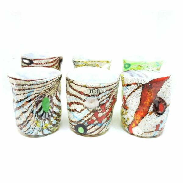 ItalieGlasses Glass Murano 6 Pz Murrina And Leaf' Silver Original and  Use