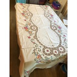 Kyпить Vintage Embroidered Tablecloth/ 12 Napkins/ Gorgeous !! на еВаy.соm