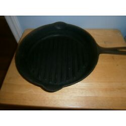 Kyпить Vintage Cast Iron Wagner Ware Griswold ? Unbranded No 9 Grill Pan Skillet ~11