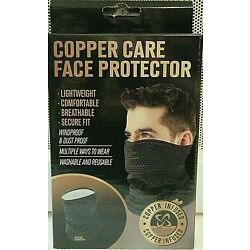 Copper Care Face Protector-Mask-Lightweight Washable Black & Gray *SHIPS FREE*
