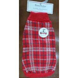 Harry Barker Plaid Knit Dog Sweater Red and Gray Size Medium NWT